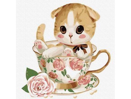 Kotek w filiżance №4 malowanie po numerach