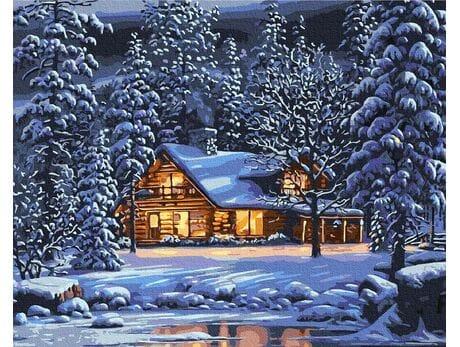 W zimowy wieczór malowanie po numerach
