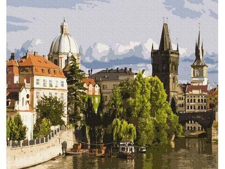 Rzeka Wełtawa. Praga malowanie po numerach