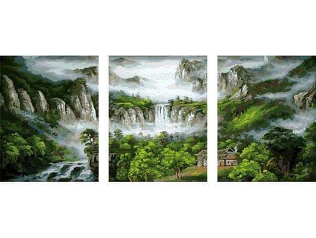 Wodospad w górach malowanie po numerach