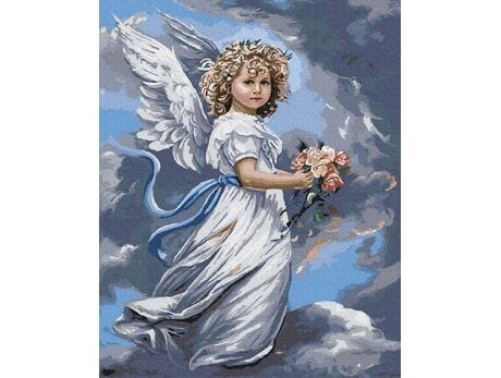 Anioł z bukietem malowanie po numerach