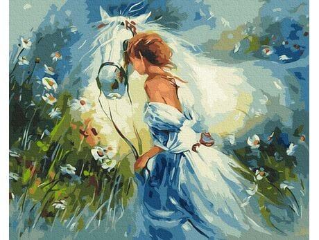 Piękna dziewczyna z koniem malowanie po numerach
