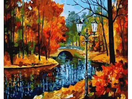 Park jesienią malowanie po numerach
