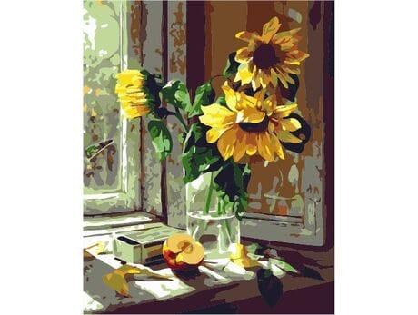 Słoneczniki na oknie malowanie po numerach