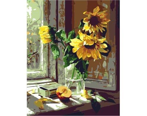 Słoneczniki na oknie
