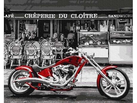 Czerwony motocykl malowanie po numerach