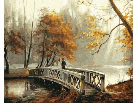 Most w jesiennym parku malowanie po numerach