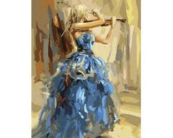 Skrzypaczka w niebieskiej sukni