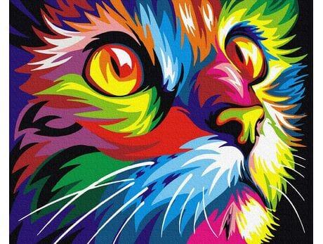 Tęczowy kot malowanie po numerach