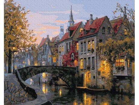 Stare belgijskie uliczki, Brugia malowanie po numerach