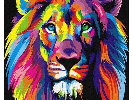Tęczowy lew malowanie po numerach