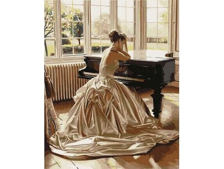Dziewczyna przy fortepianie malowanie po numerach
