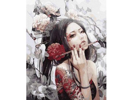 Dziewczyna z tatuażem smoka malowanie po numerach