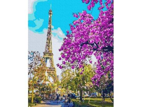Kwitnący Paryż malowanie po numerach