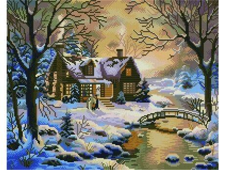 Domek w zimowym lesie diamentowa mozaika