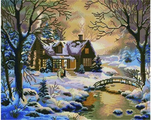 Domek zimowy w lesie