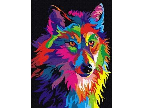 Kolorowy wilk malowanie po numerach