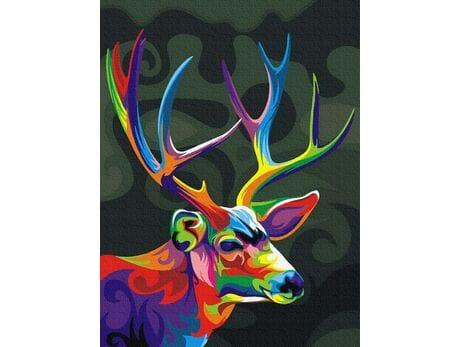 Kolorowy jeleń malowanie po numerach
