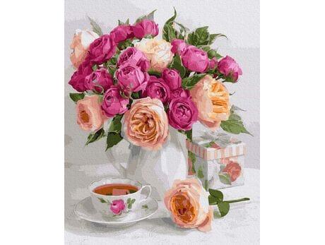 Bukiet róż na stole malowanie po numerach