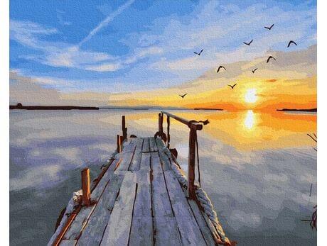 Zachód słońca nad zalewem malowanie po numerach