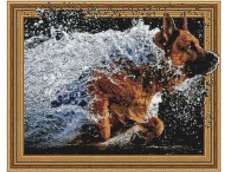 Radość psa diamentowa mozaika
