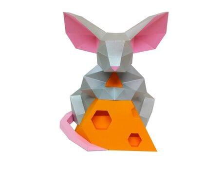 """Figurka 3D """"Mysz z serem"""", zestaw do składania 3D modelu"""