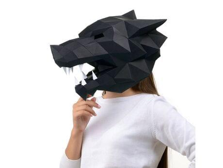 """Maska """"Wilk"""", czarna, zestaw do składania (do sesji zdjęciowych i rozrywki)"""