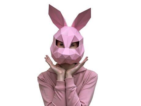 """Maska """"Zając"""", różowa, zestaw do składania (do sesji zdjęciowych i rozrywki)"""