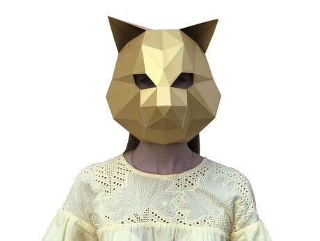 """Maska """"Cat"""", Złota, zestaw do składania (do sesji zdjęciowych i rozrywki) papercraft 3d modele"""
