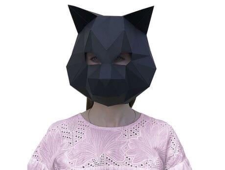 """Maska """"Cat"""", czarna, zestaw do składania (do sesji zdjęciowych i rozrywki) papercraft 3d modele"""