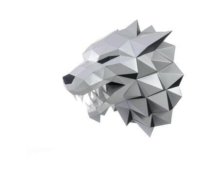 """Głowa trofeum """"LutyWilk"""", szara, zestaw do składania (3D model na ścianę) papercraft 3d modele"""