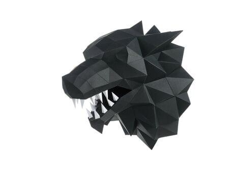 """Głowa trofeum """"LutyWilk"""", czarna, zestaw do składania (3D model na ścianę)"""
