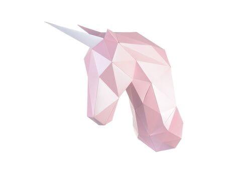 """Głowa trofeum """"Jednorożec Pianka"""", zestaw do składania (3D model na ścianę) papercraft 3d modele"""