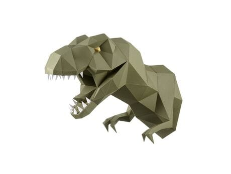 """Głowa trofeum """"Dinozaur Zaur"""", wasabi, zestaw do składania (3D model na ścianę) papercraft 3d modele"""