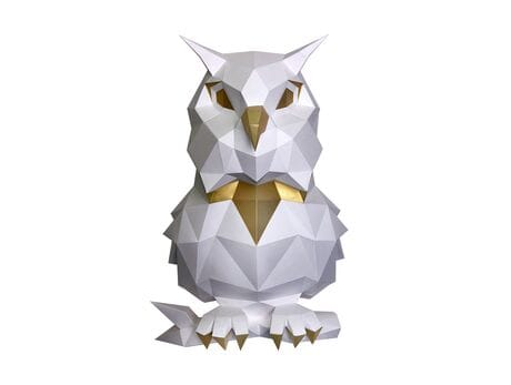 """Trofeum """"Owl Pooh"""", biały, zestaw do składania (3D model na ścianę) papercraft 3d modele"""