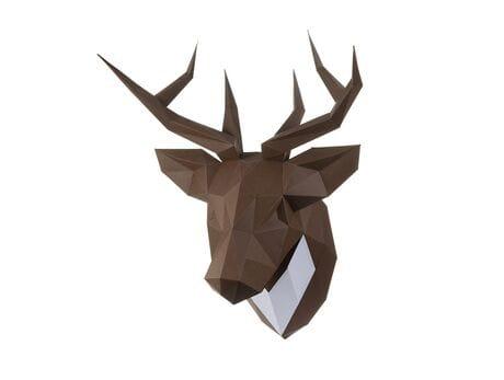 """Głowa trofeum """"Jeleń Pet"""", brązowy, zestaw do składania (3D model na ścianę) papercraft 3d modele"""