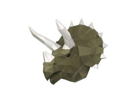 """Głowa trofeum """"Dinozaur Tops"""", wasabi, zestaw do składania (3D model na ścianę) papercraft 3d modele"""