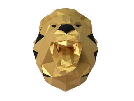 """Głowa trofeum """"Lew Niko"""", słoneczny, zestaw do składania (3D model na ścianę)"""