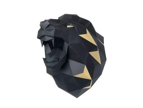 """Głowa trofeum """"Lew """", czarny, zestaw do składania (3D model na ścianę) papercraft 3d modele"""