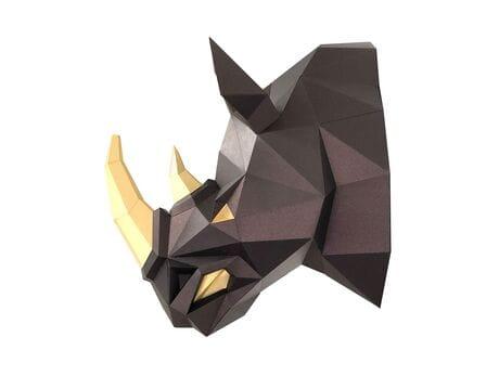"""Głowa trofeum """"Nosorożec Róg""""  czarny brąz, zestaw do składania (3D model na ścianę)"""
