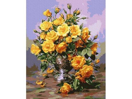 Piękne żółte róże malowanie po numerach