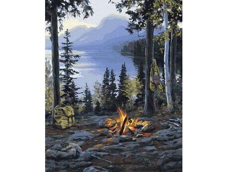 Ognisko w górach malowanie po numerach