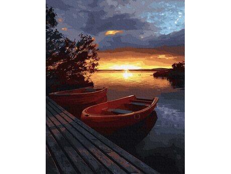 Zachód słońca nad wodą malowanie po numerach