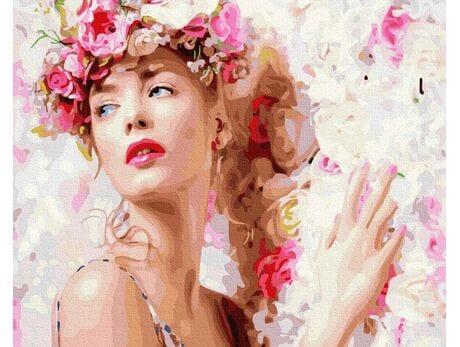 Dziewczyna z wiankiem kwiatów malowanie po numerach