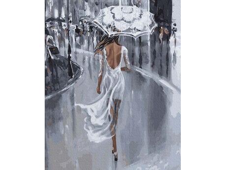 W białej sukni pod parasolem malowanie po numerach