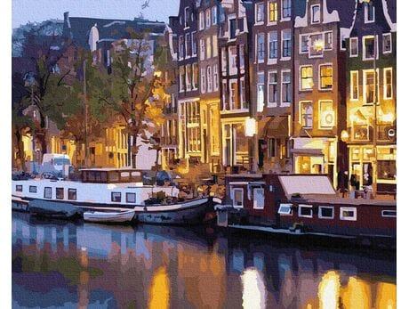 Nocne światła Amsterdamu malowanie po numerach