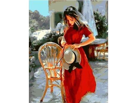 Dziewczyna w czerwonej sukience malowanie po numerach