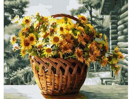 Bukiet kwiatów w koszu malowanie po numerach