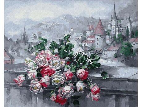 Pejzaż z różami malowanie po numerach