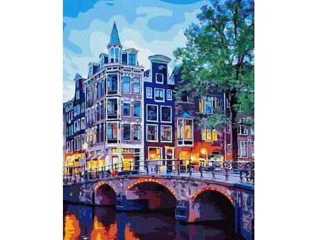 Lampki nocne w Amsterdamie malowanie po numerach